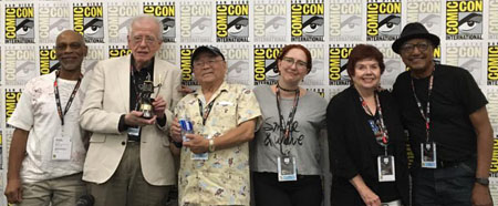 Left To Right: Ron Husband, Phil Roman, Willie Ito, Leslie Combemale, Jane Baer and Floyd Norman